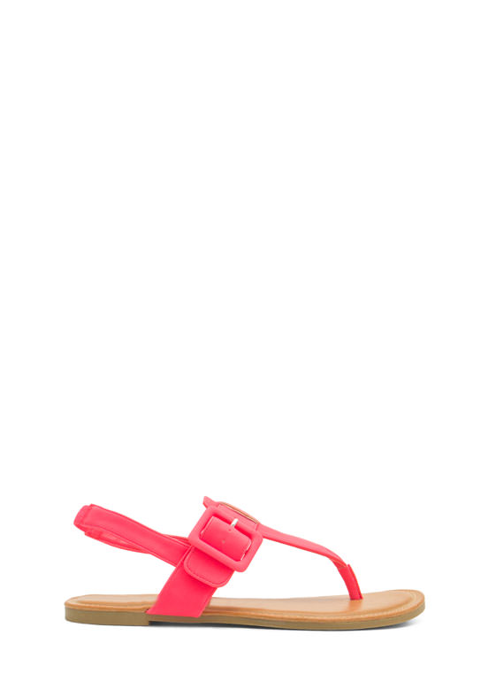 Buckle The Trend T-Strap Sandals NEONPINK