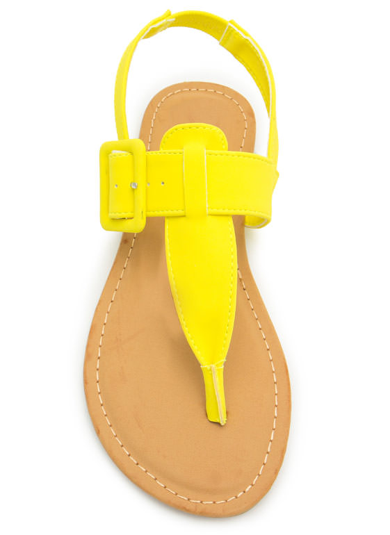 Buckle The Trend T-Strap Sandals NEONYELLOW