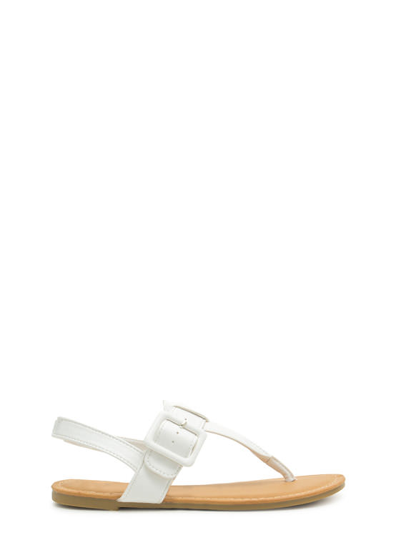Buckle The Trend T-Strap Sandals WHITE