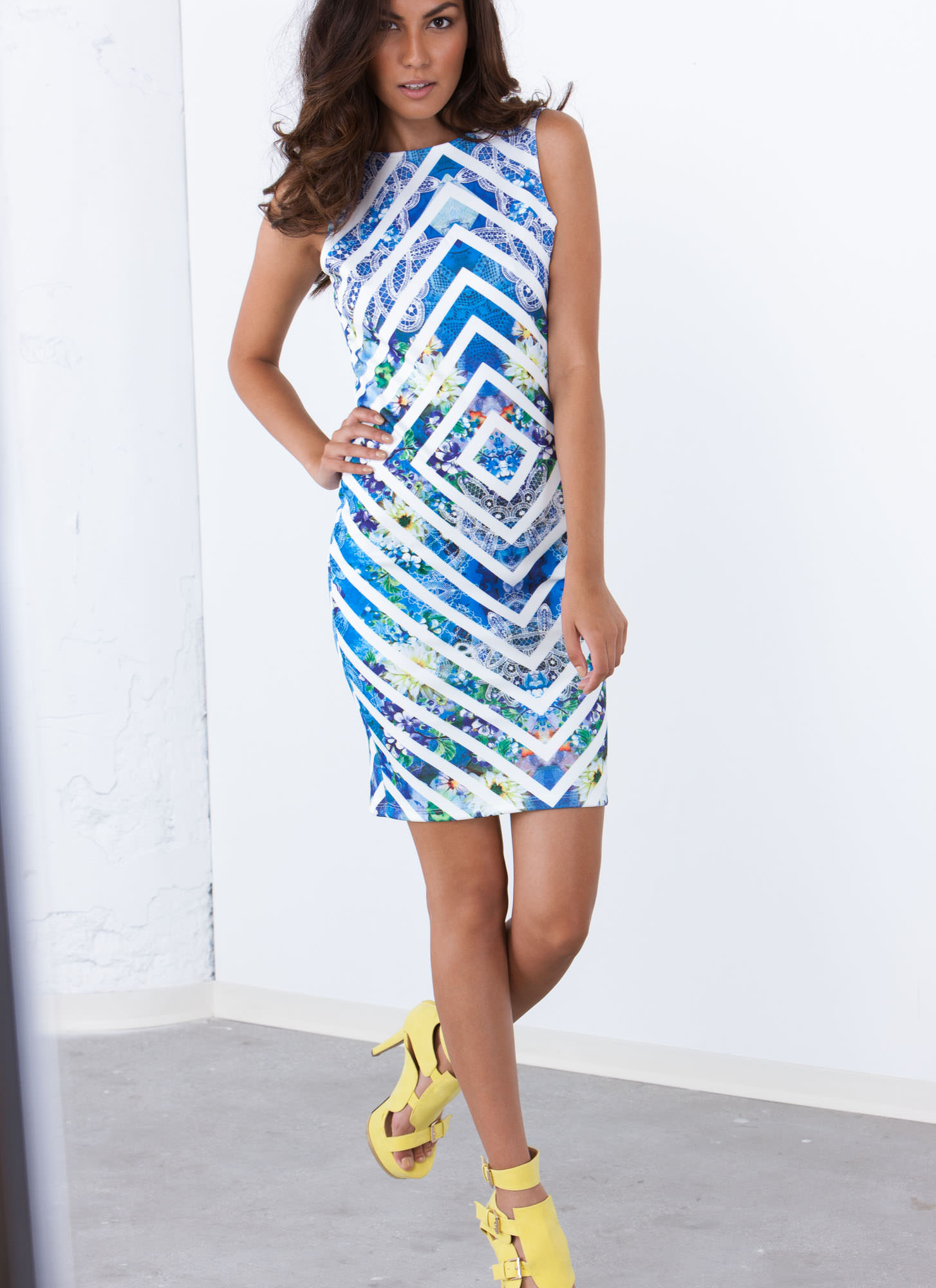 Between The Lines Floral Print Dress BLUE