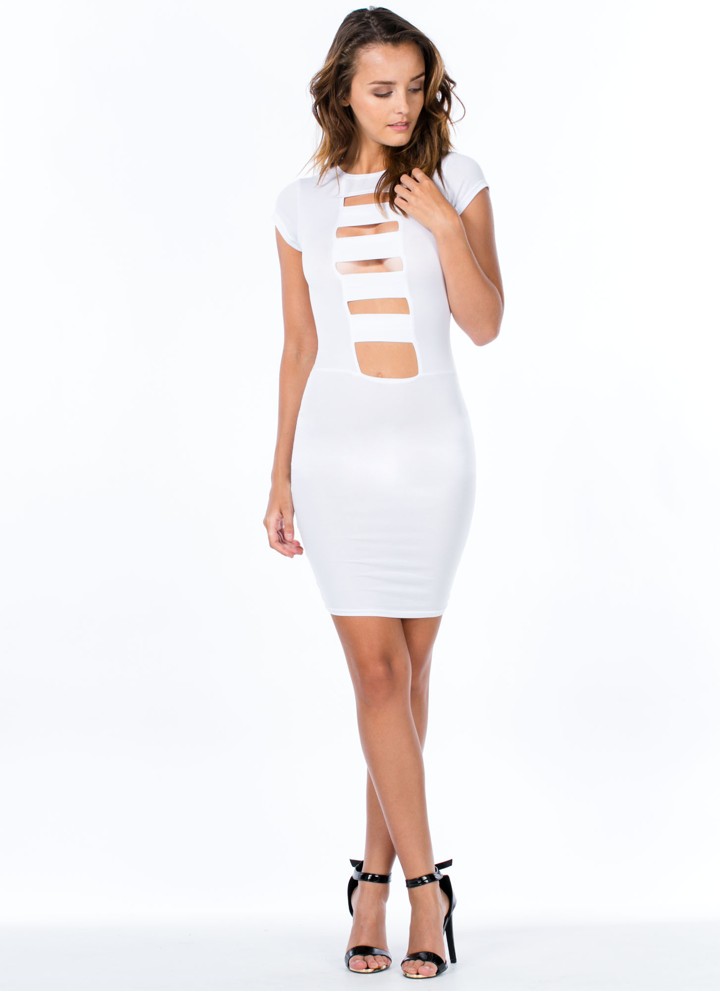 Work Up A Ladder Caged Cut-Out Dress WHITE