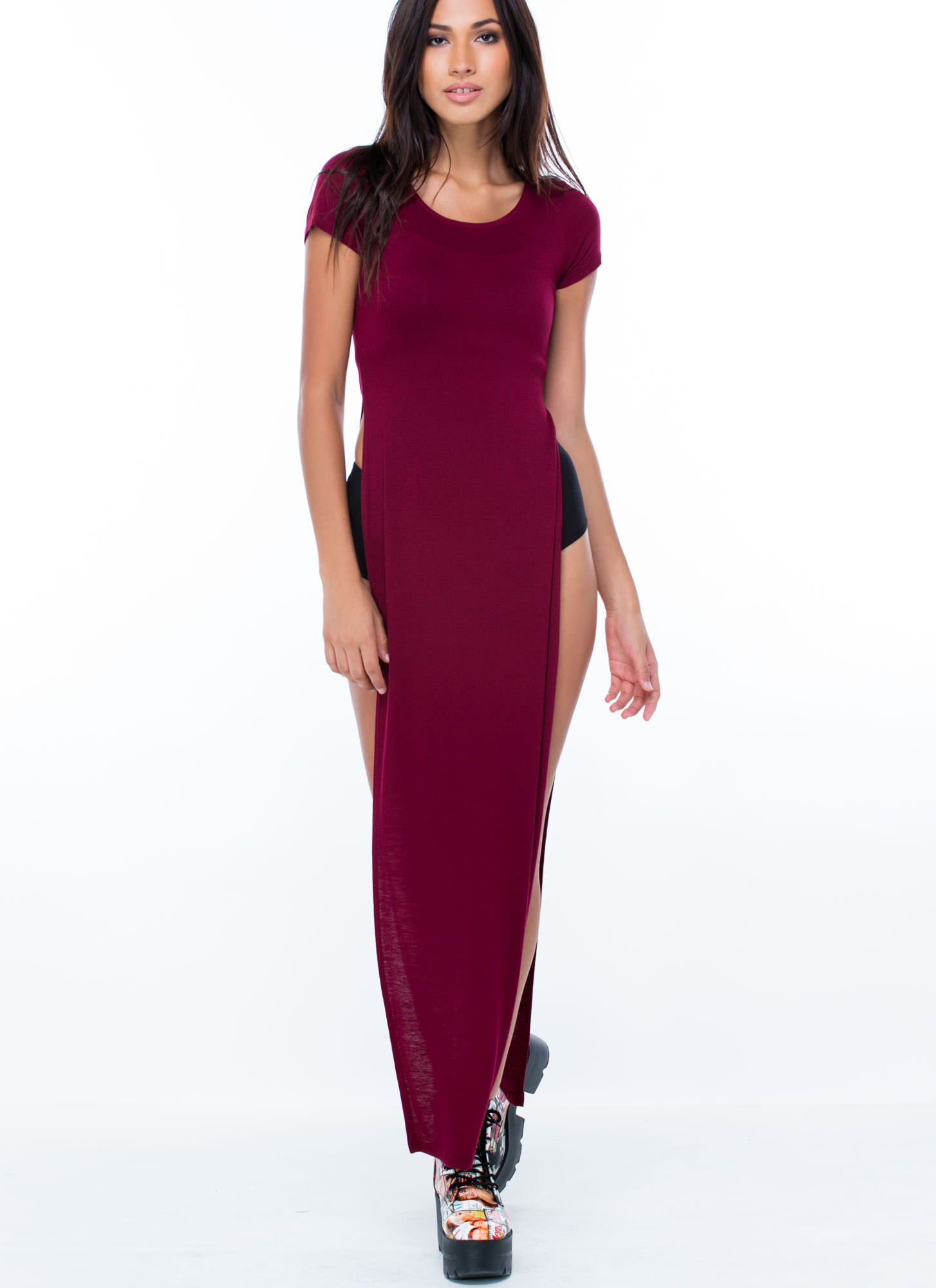 Trends In High Places Side Slit Maxi BURGUNDY