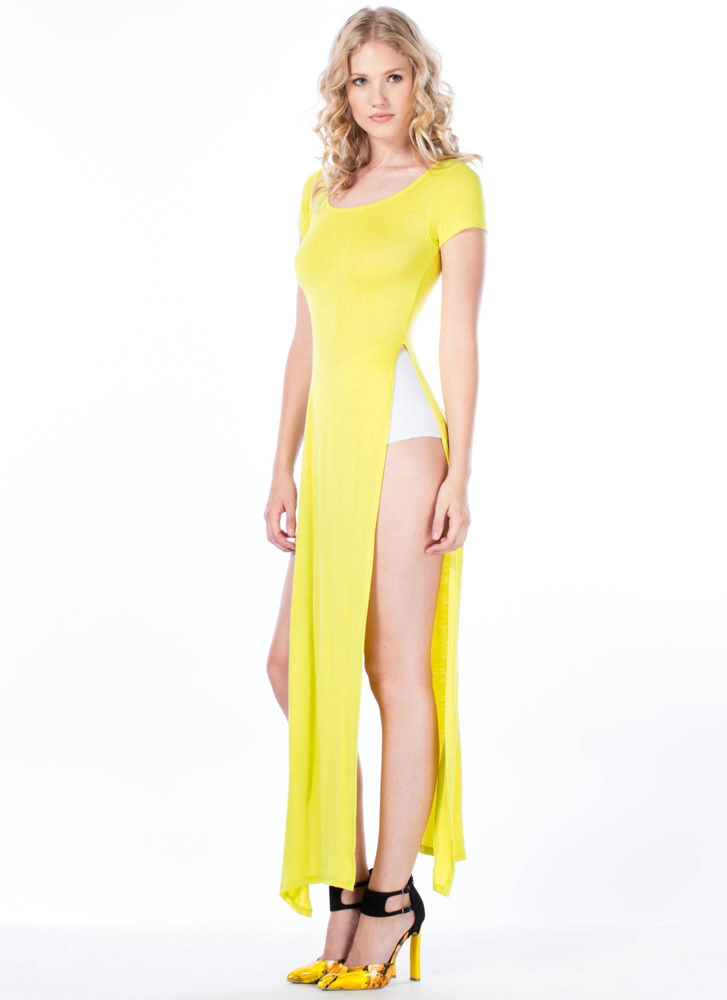 Trends In High Places Side Slit Maxi CITRON
