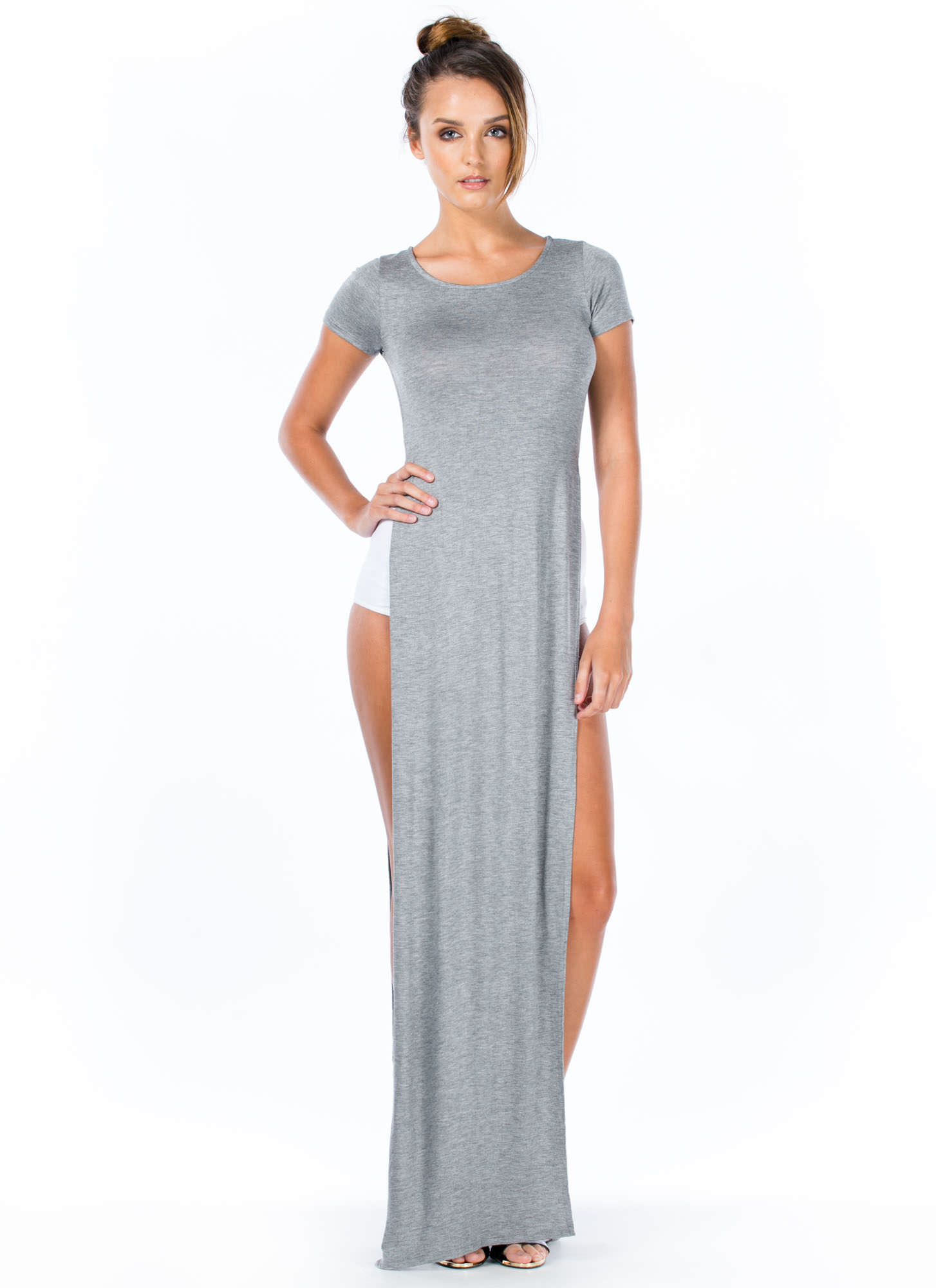 Trends In High Places Side Slit Maxi HGREY
