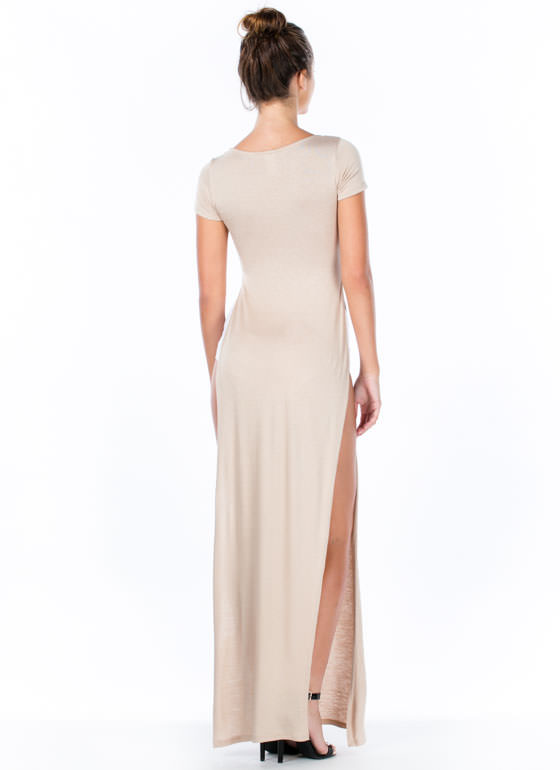 Trends In High Places Side Slit Maxi KHAKI
