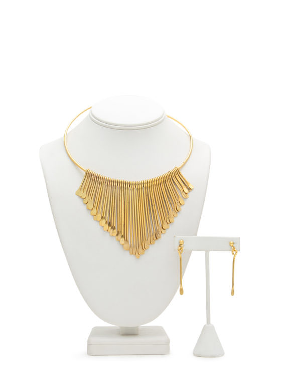 Paddle Spoke Fringe Metal Choker Set DKGOLD