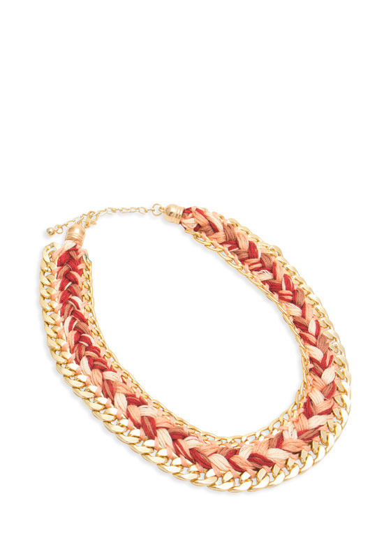 Braided Chain Link Trim Necklace TAUPEGOLD
