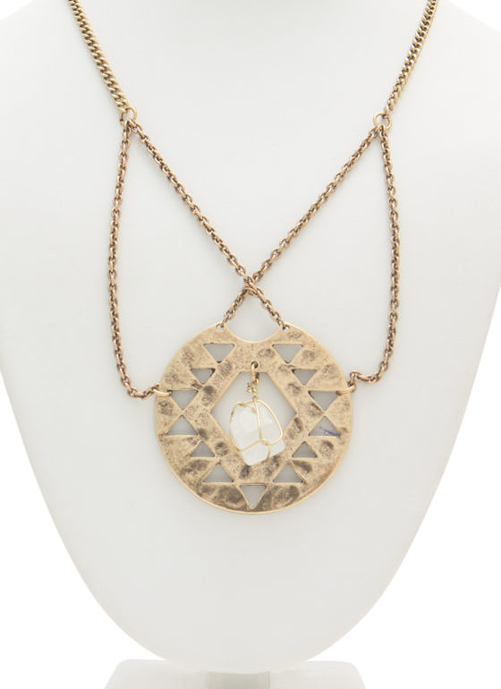Tribal Plate 'N Stone Necklace DKGOLDCLEAR