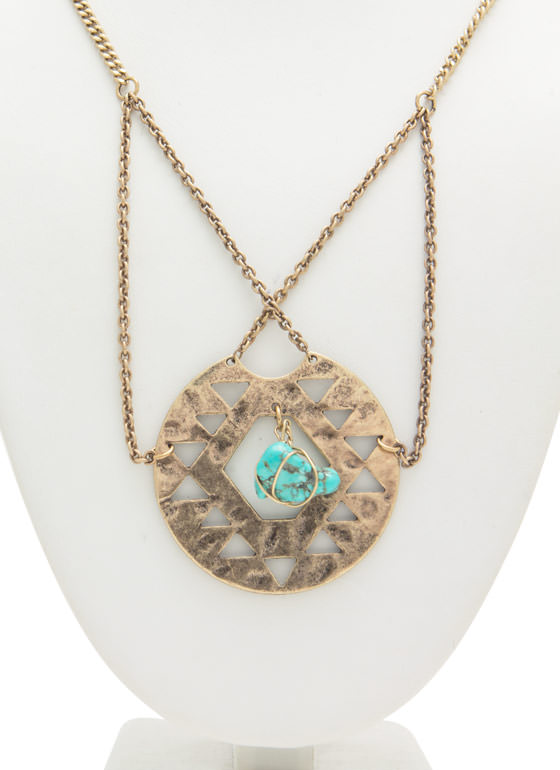 Tribal Plate 'N Stone Necklace DKGOLDTURQ