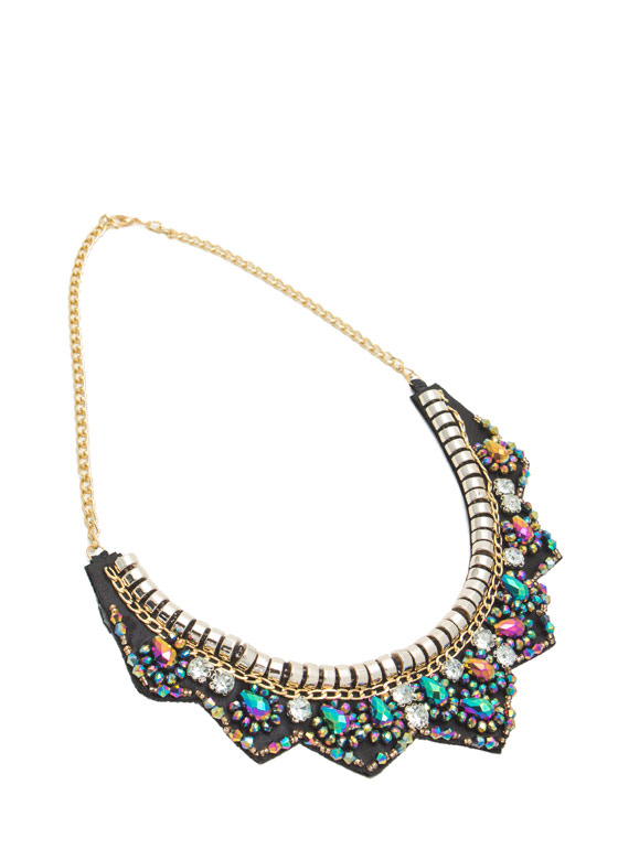 Iridescent Beads 'N Faux Jewels Necklace BLACKMULTI