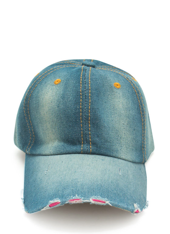 Stitched Panels Distressed Denim Cap DKBLUE