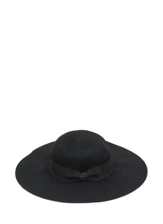 Cinched Bow Floppy Wool Hat BLACK