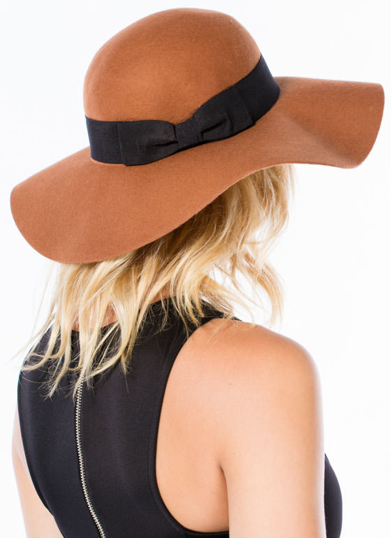 Cinched Bow Floppy Wool Hat CAMELBLACK