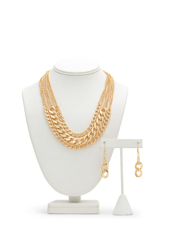 Three Chains Layered Necklace Set GOLD