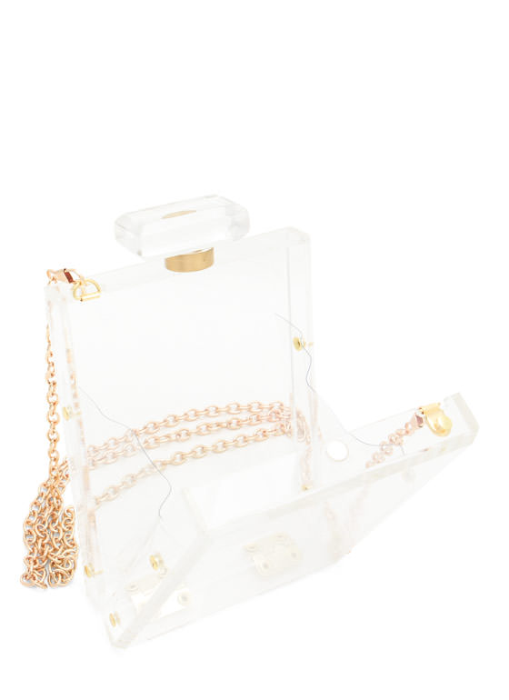 Lucite Perfume Bottle Clutch CLEAR