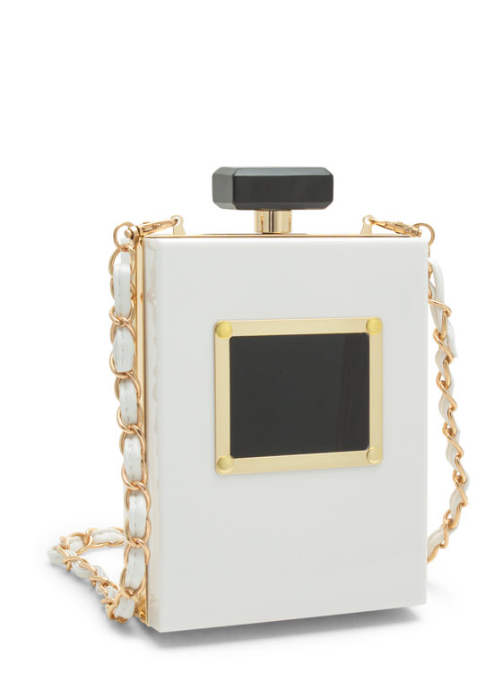 Plate Night Perfume Bottle Clutch WHITE