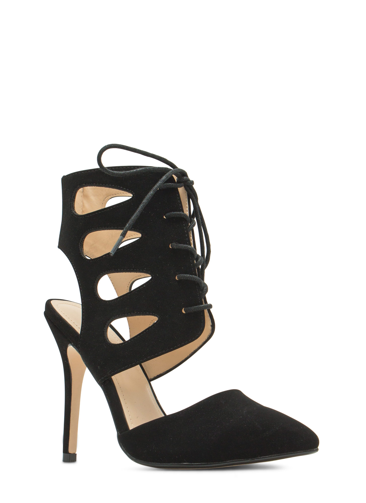 Teardrop Cut-Out Lace-Up Heels BLACK