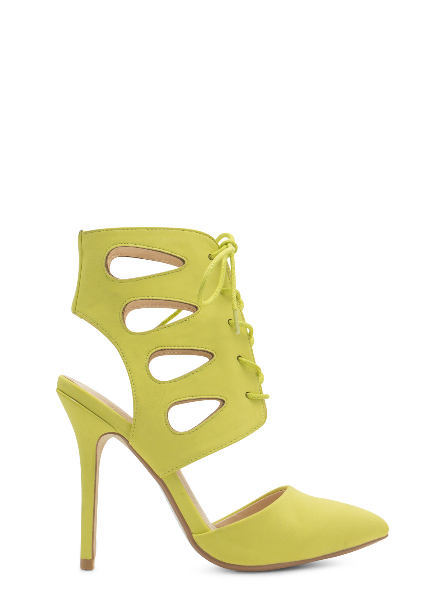 Teardrop Cut-Out Lace-Up Heels LIME