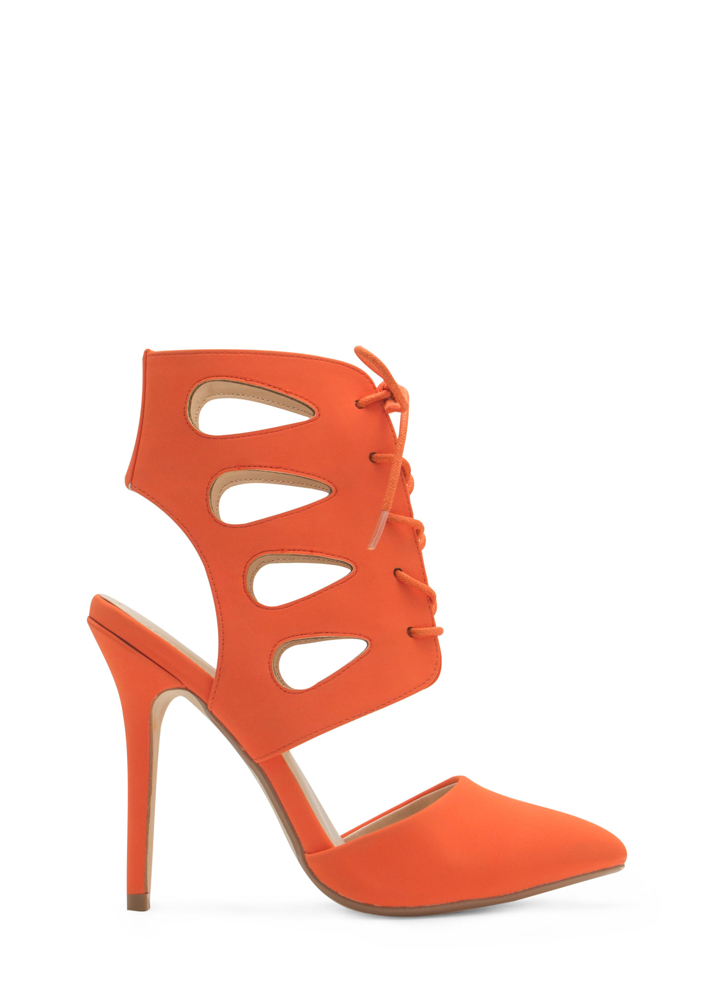 Teardrop Cut-Out Lace-Up Heels ORANGE