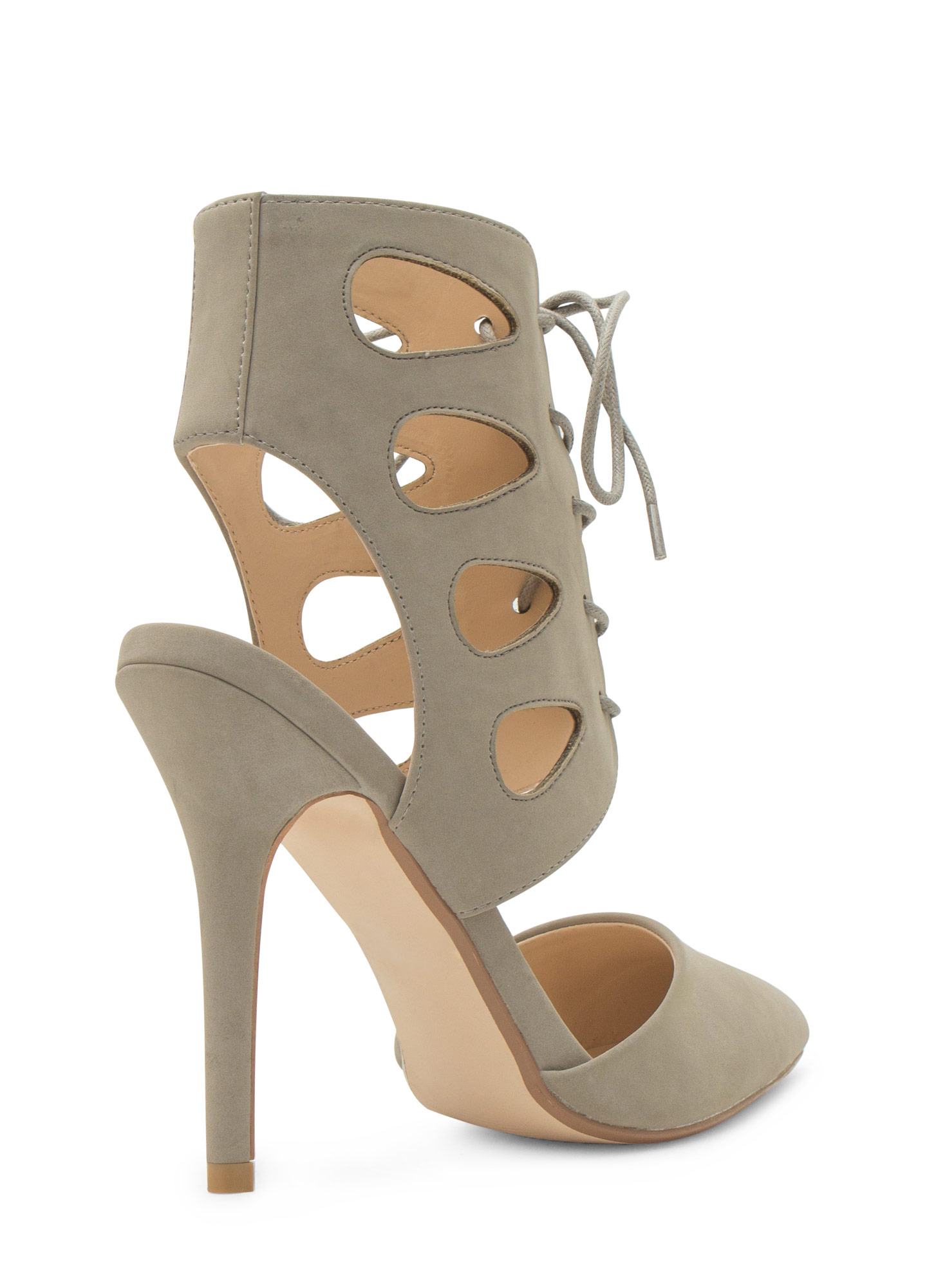 Teardrop Cut-Out Lace-Up Heels STONE
