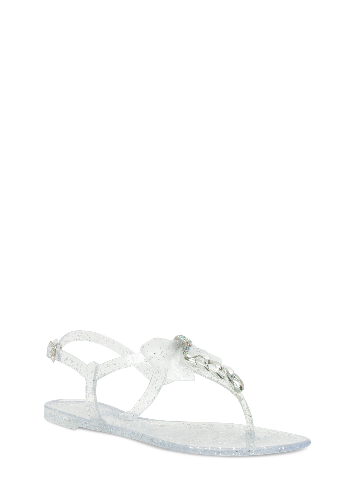 Bow 'N Chain Jelly Thong Sandals CLEAR