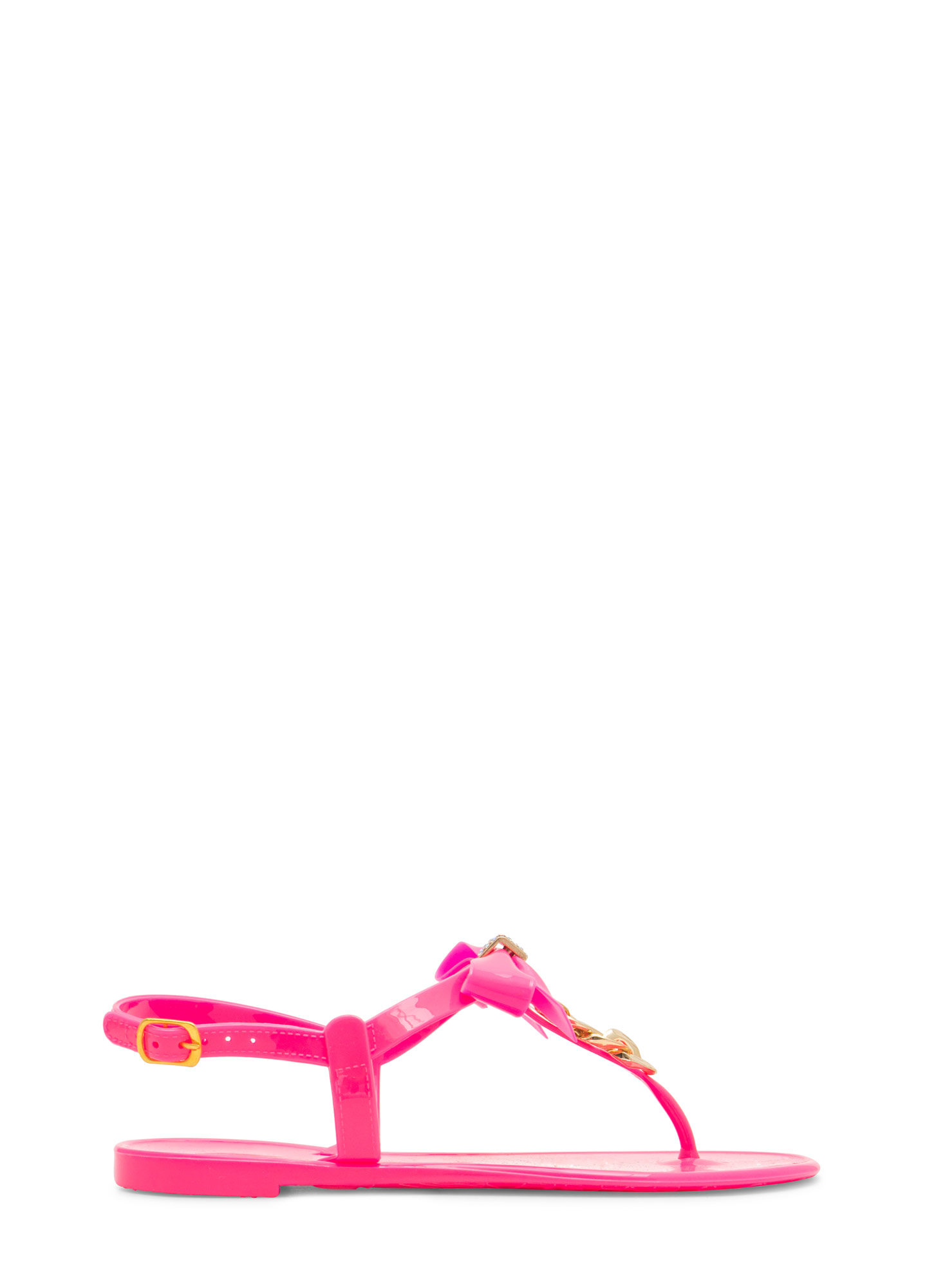 Bow 'N Chain Jelly Thong Sandals HOTPINK