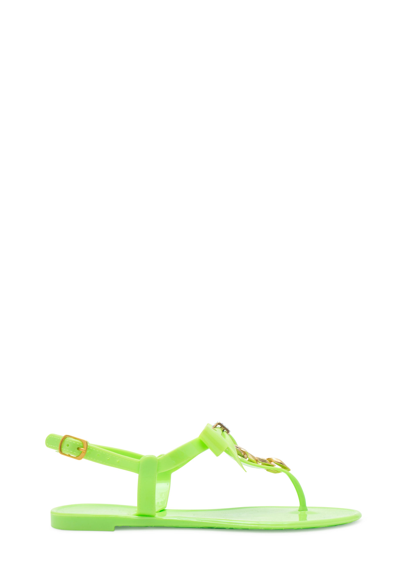 Bow 'N Chain Jelly Thong Sandals NEONGREEN