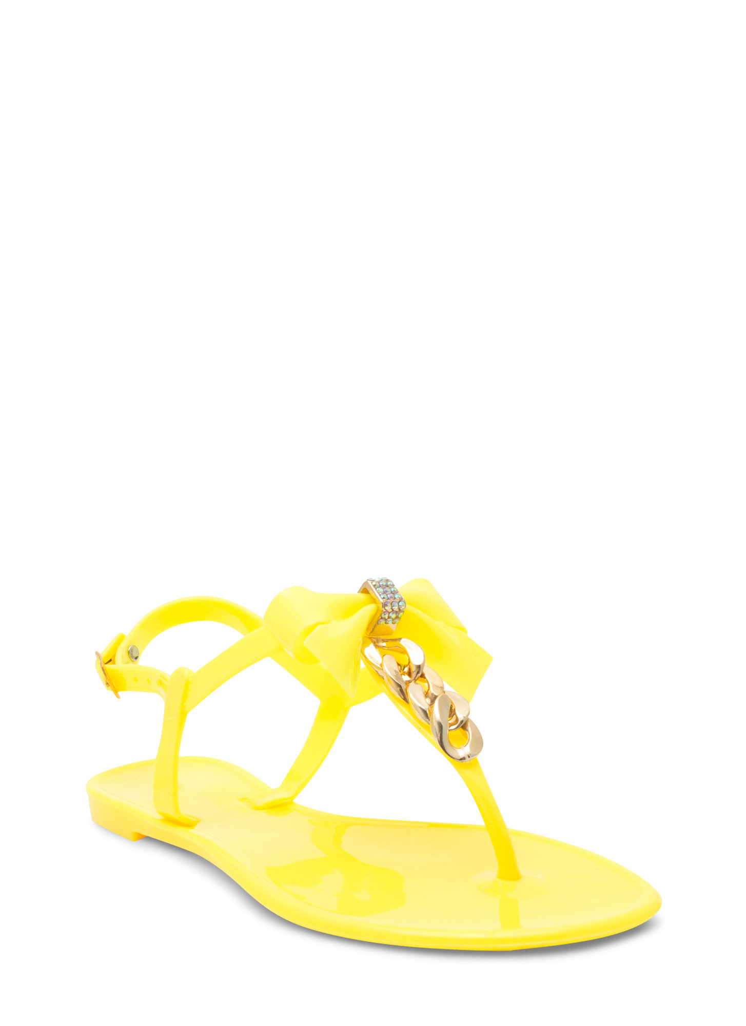Bow 'N Chain Jelly Thong Sandals NEONYELLOW