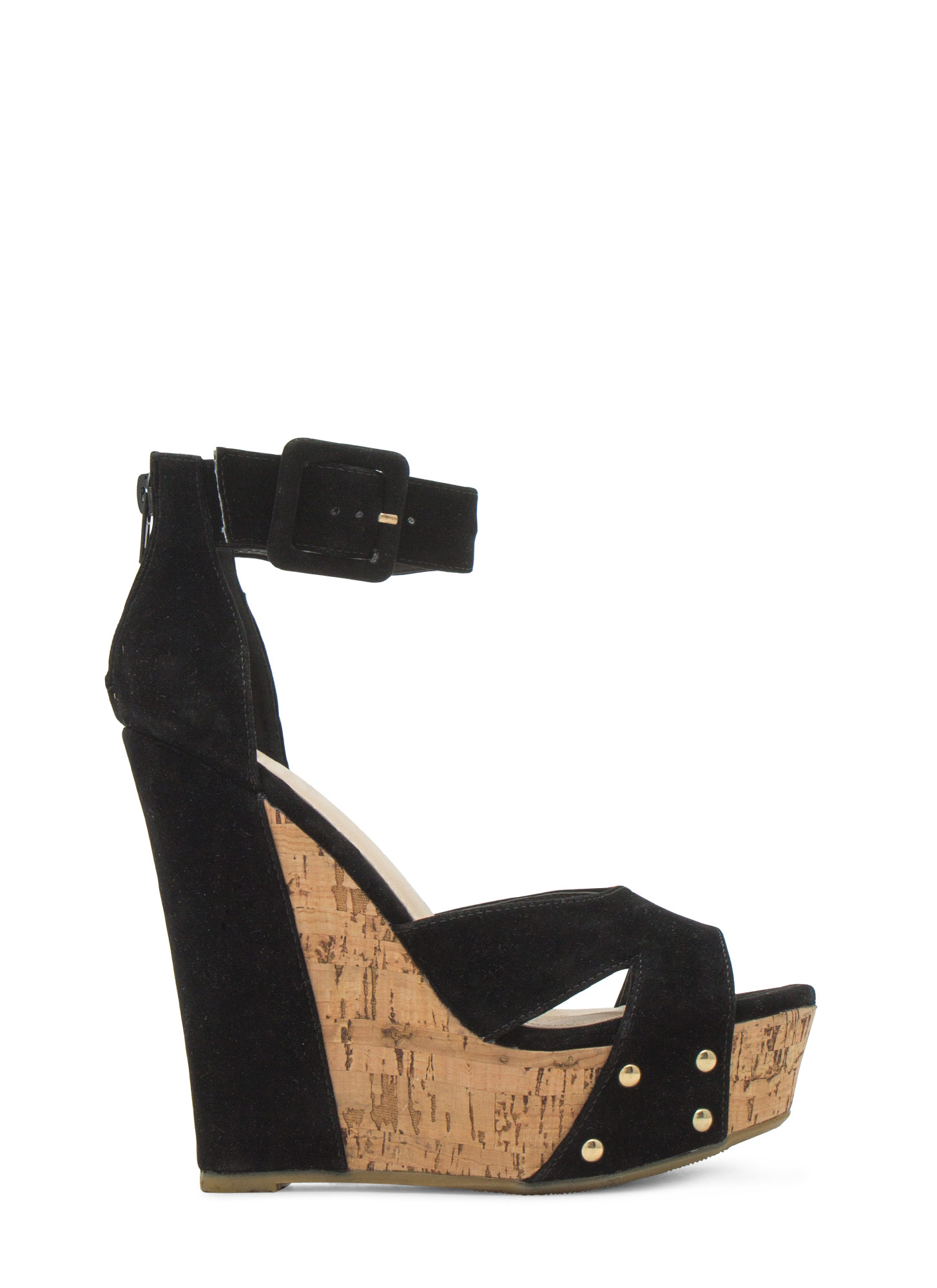 Studded Faux Cork Wedges BLACK