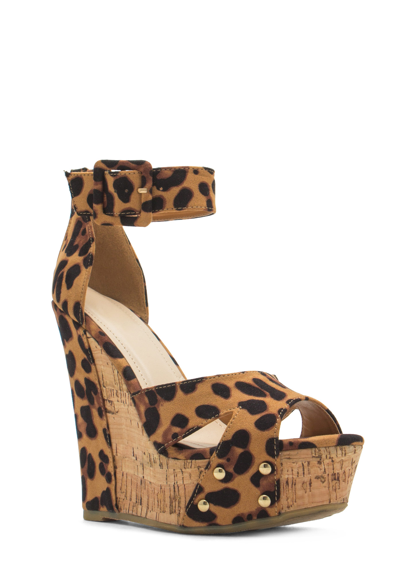 Studded Faux Cork Wedges LEOPARD