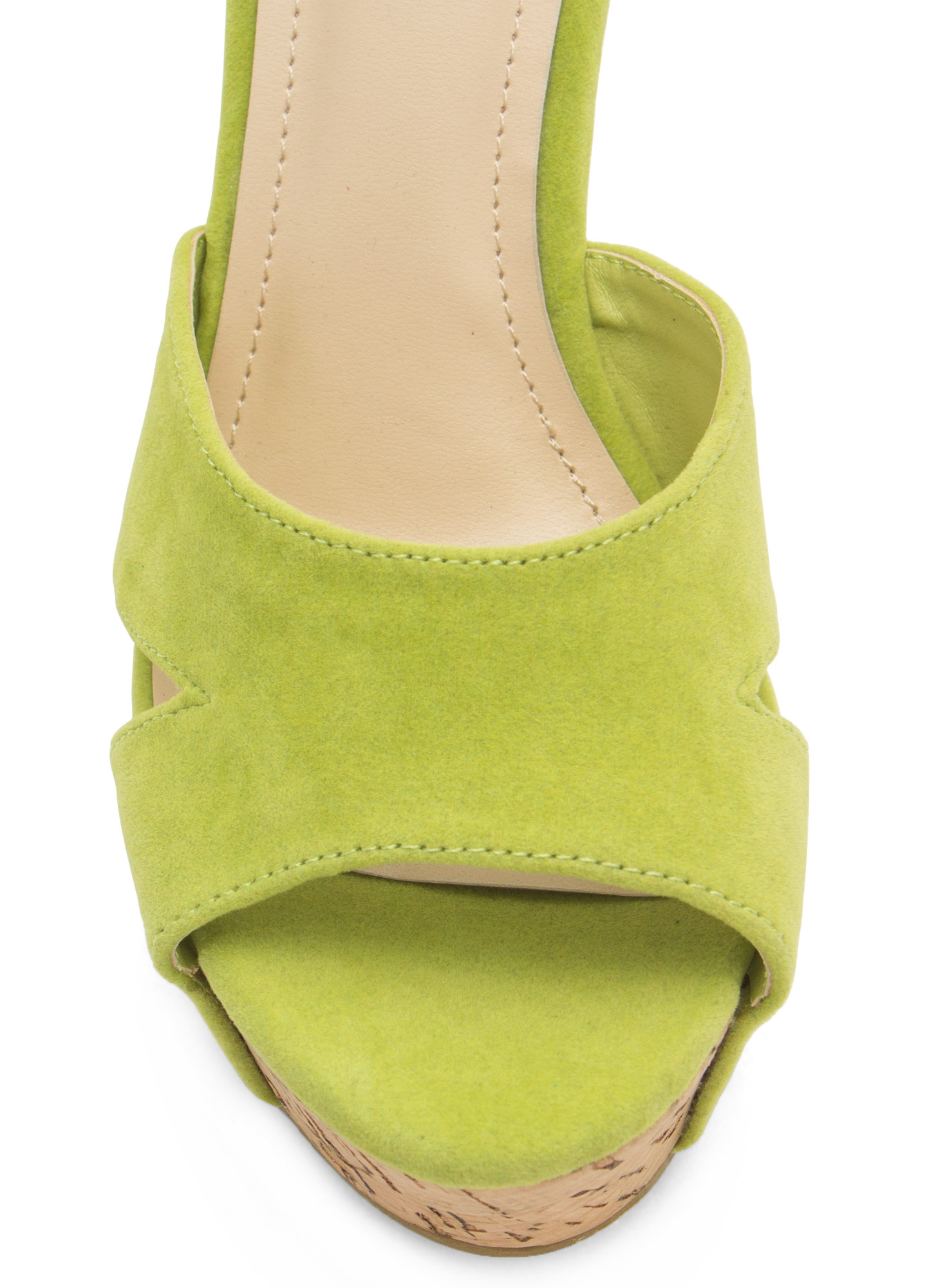 Studded Faux Cork Wedges LIME