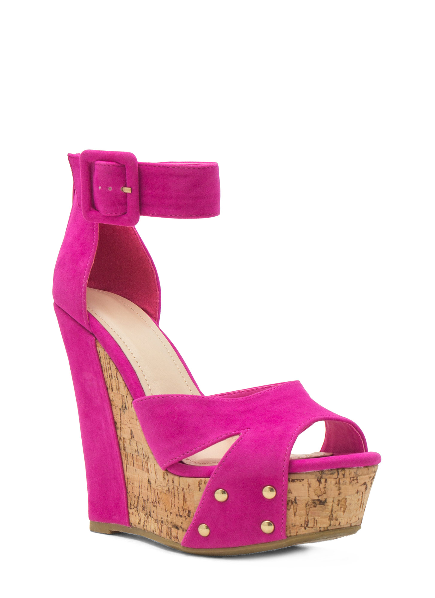 Studded Faux Cork Wedges MAGENTA