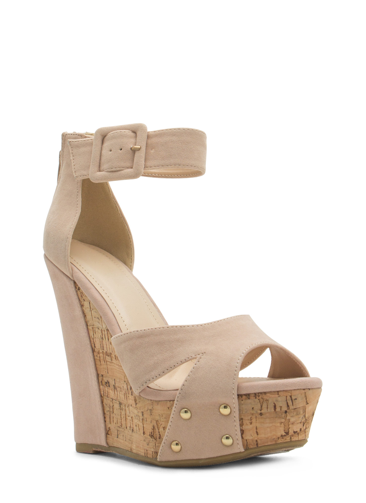 Studded Faux Cork Wedges NUDE