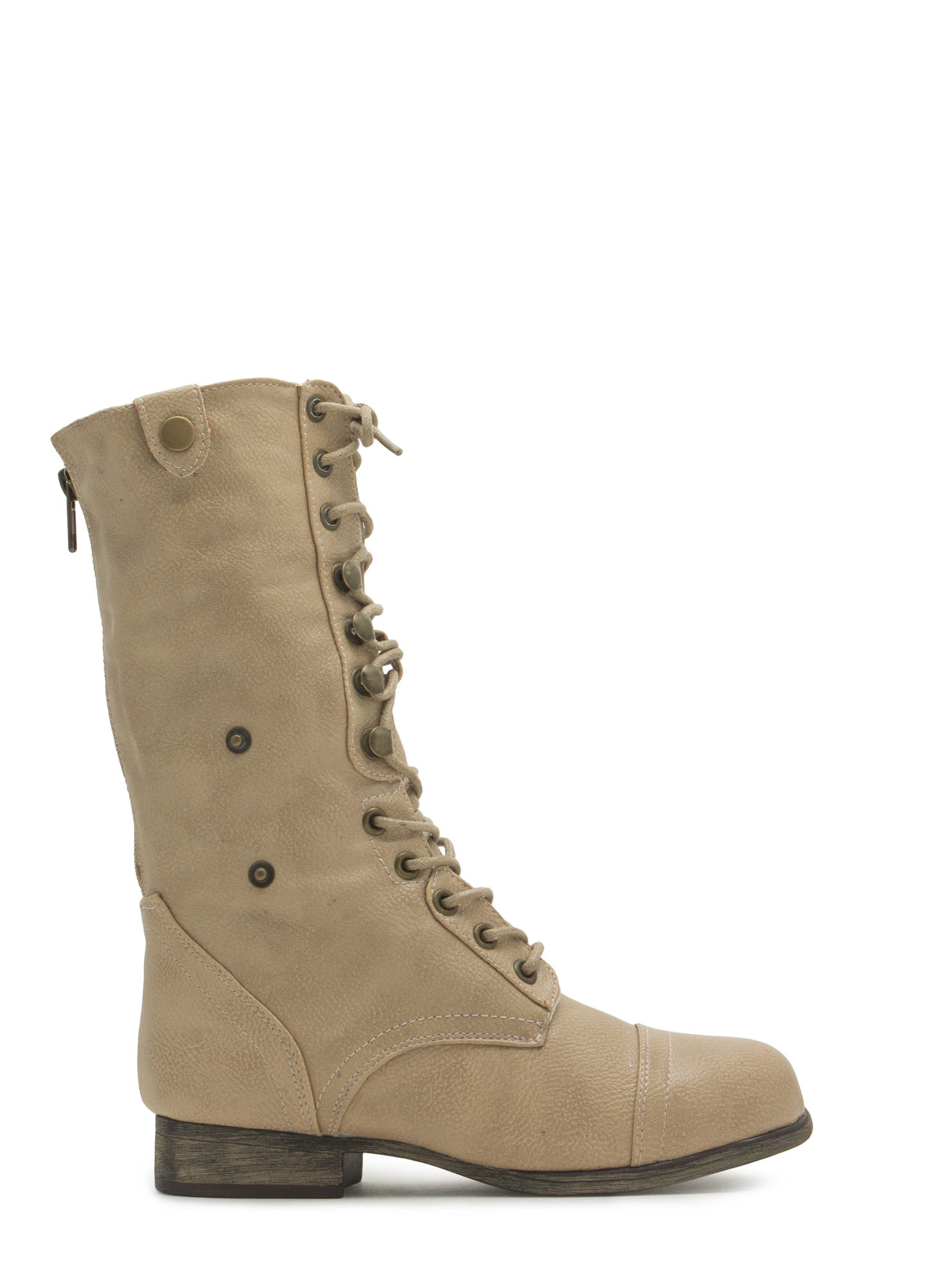 Foldover Lace-Up Combat Boots BEIGE