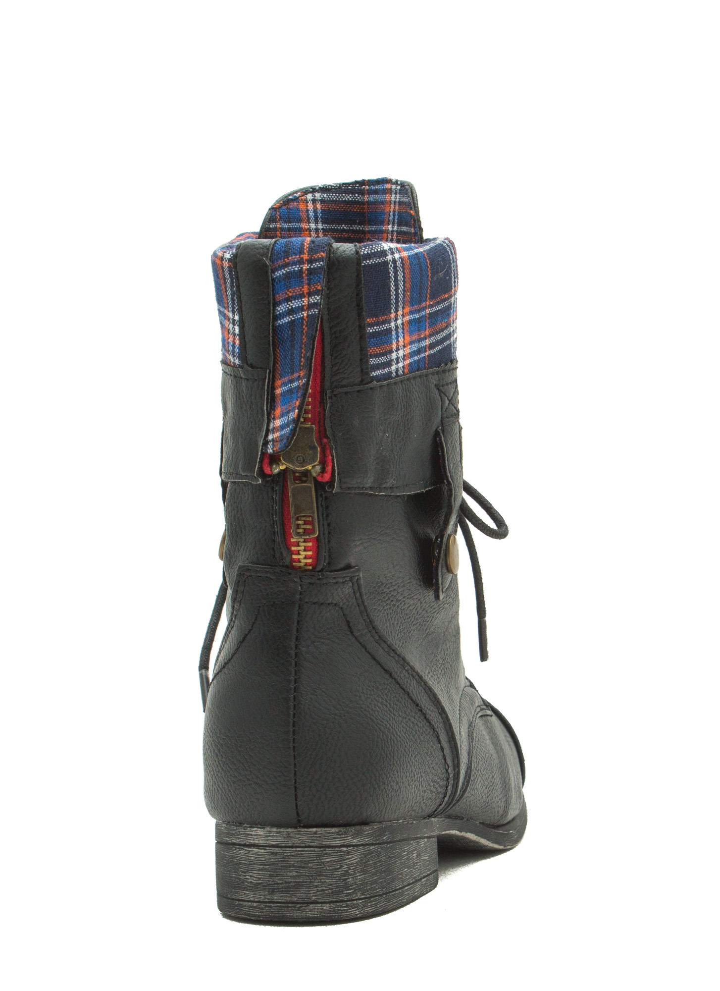 Foldover Lace-Up Combat Boots BLACKBLUE