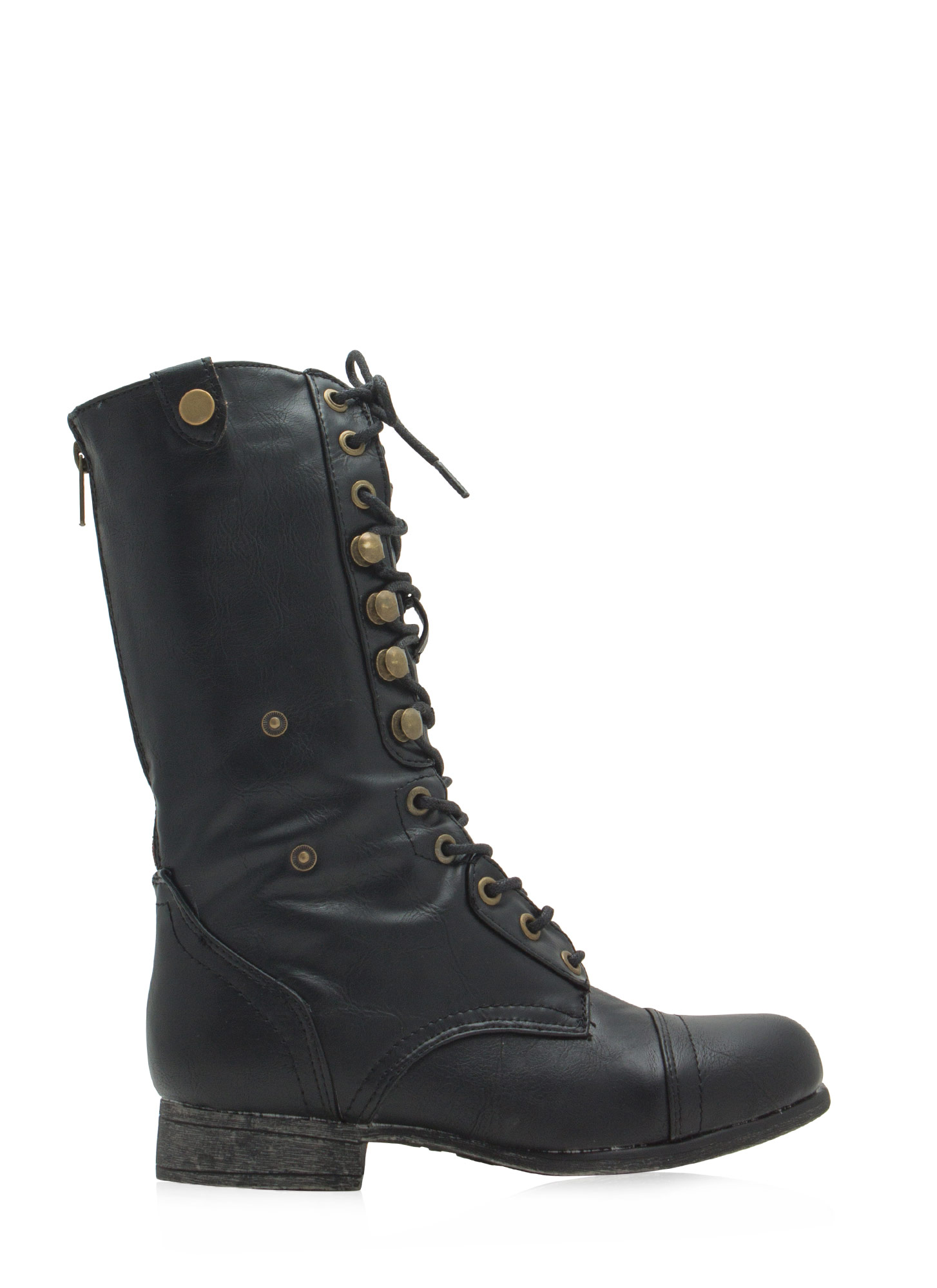 Foldover Lace-Up Combat Boots BLACKLEOPARD