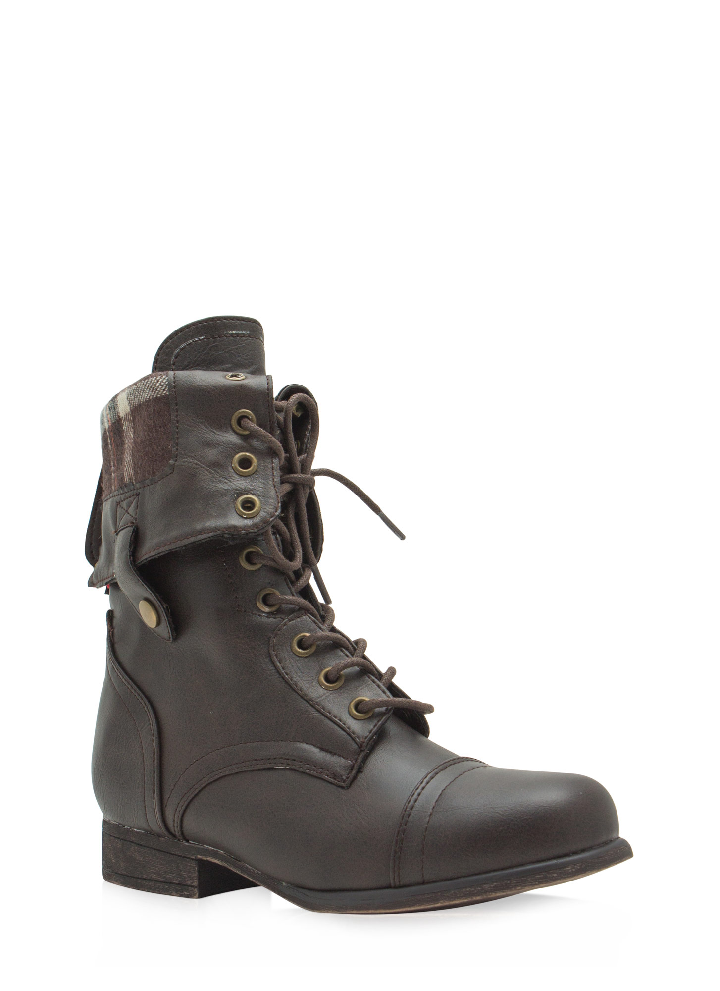 Foldover Lace-Up Combat Boots BROWNNATURAL