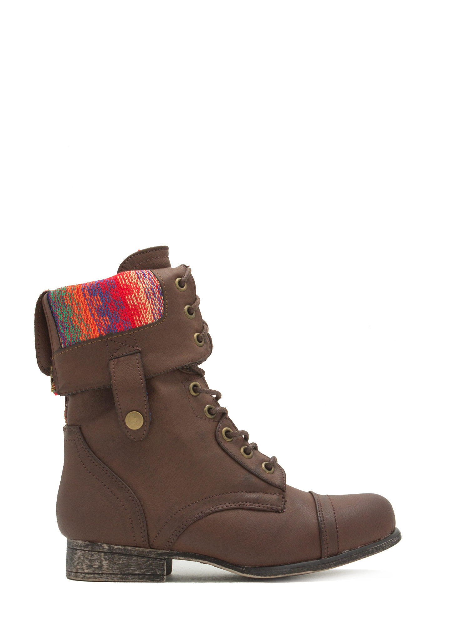 Foldover Lace-Up Combat Boots BROWNRED