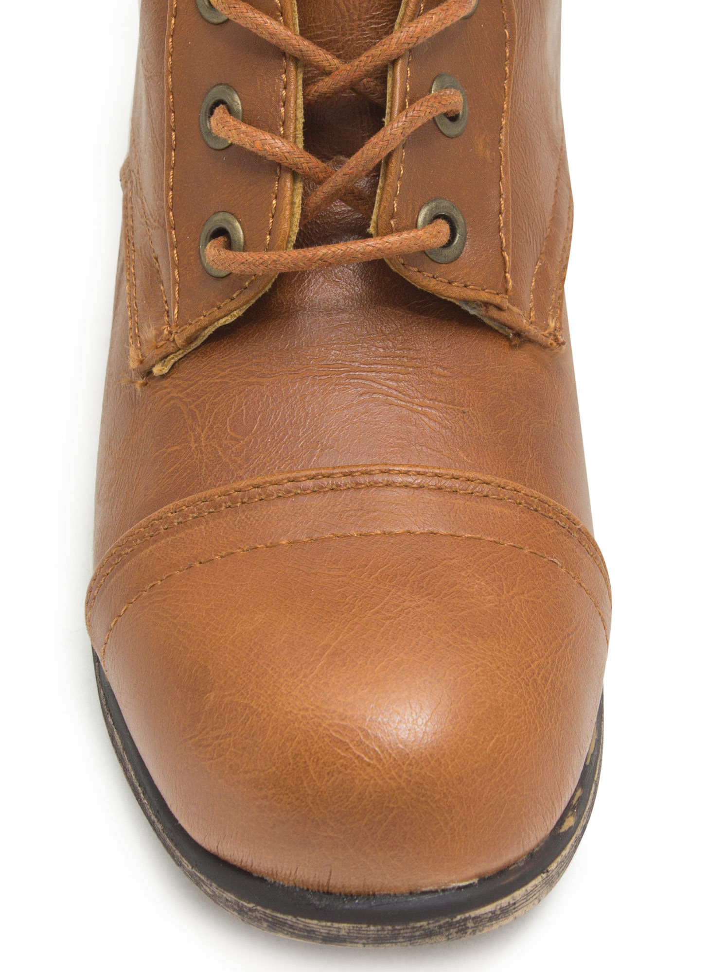 Foldover Lace-Up Combat Boots CHESTNUT