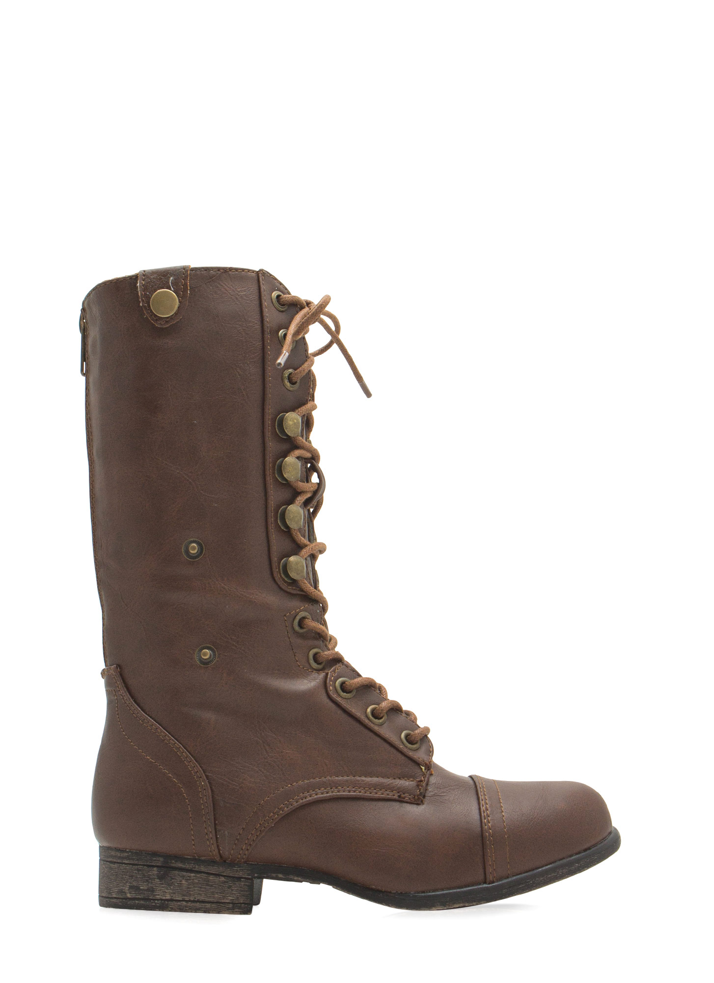 Foldover Lace-Up Combat Boots CHSTNTBEIGE