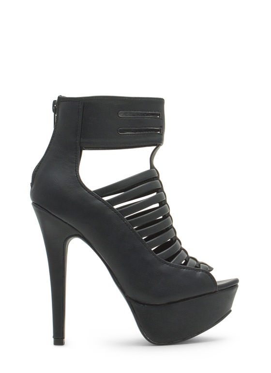 Slit Right In Faux Leather Platform Heels BLACK