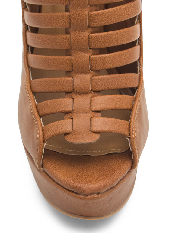 Slit Right In Faux Leather Platform Heels COGNAC