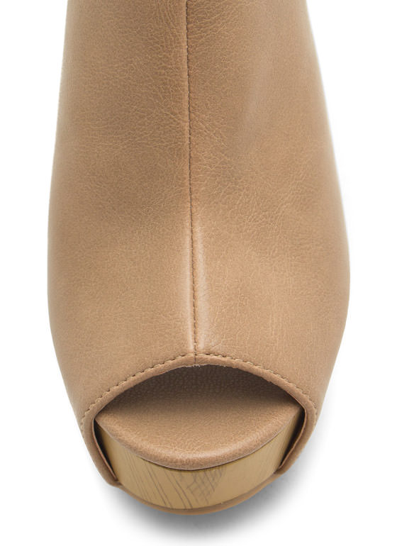 No Intro Faux Leather Mule Wedges BEIGE