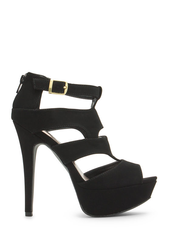 Say What Faux Nubuck Cut-Out Heels BLACK