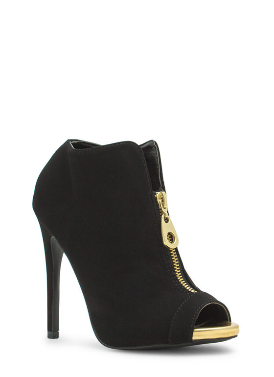 So Exposed Zipper Faux Leather Booties BLACK