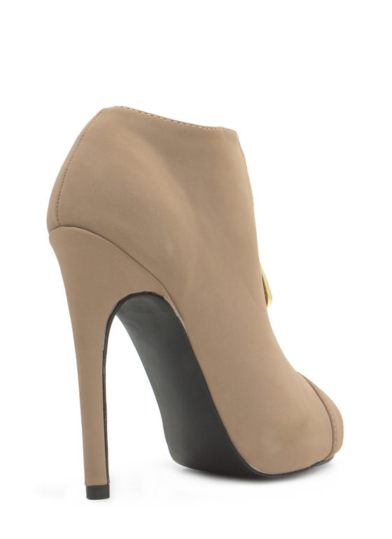 So Exposed Zipper Faux Leather Booties TAUPE
