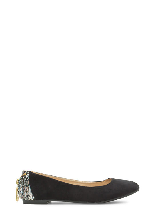Zipper Pull You In Faux Suede Flats BLACK