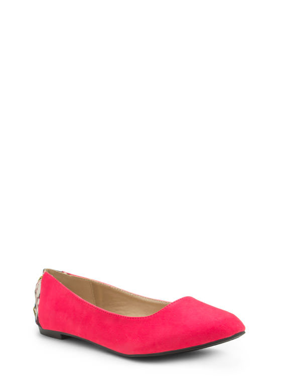 Zipper Pull You In Faux Suede Flats FUCHSIA