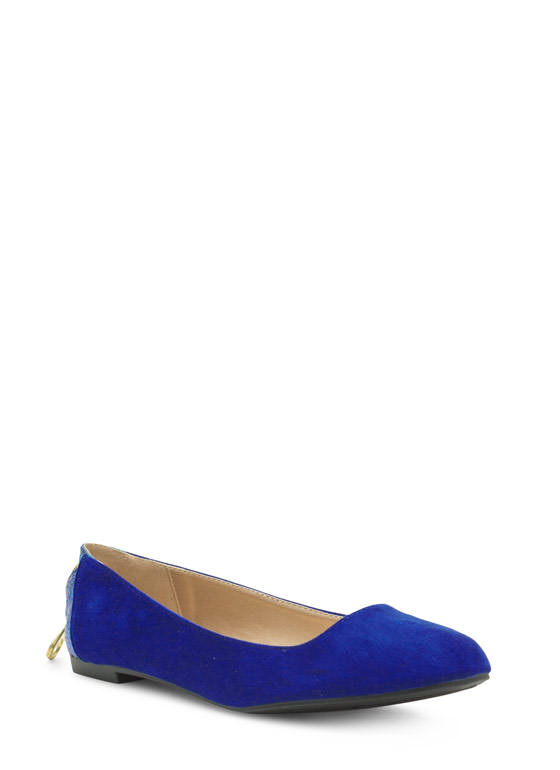 Zipper Pull You In Faux Suede Flats ROYAL