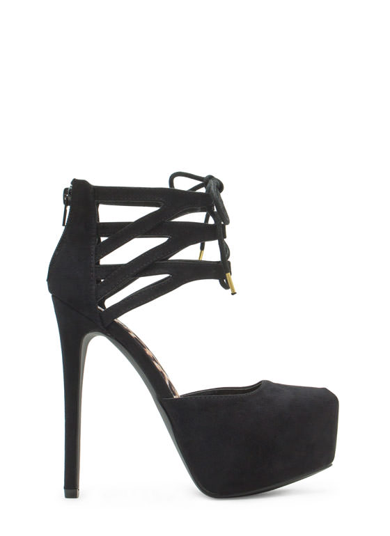 Windowpane Lattice Platform Heels BLACK